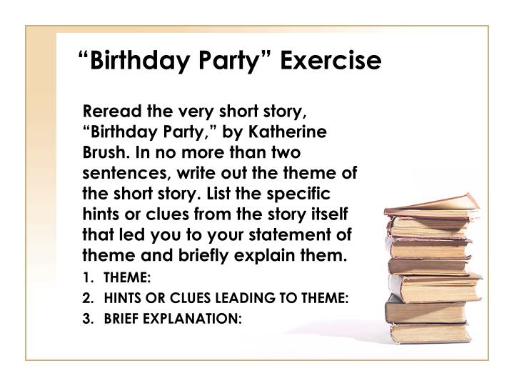 """Birthday Party"" Exercise"