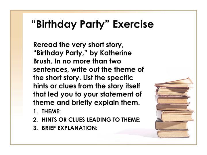 """Birthday Party"" Exercise"