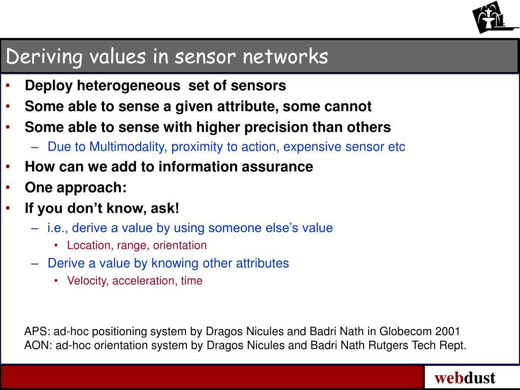 Deriving values in sensor networks