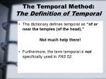 the temporal method the definition of temporal
