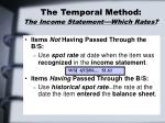 the temporal method the income statement which rates