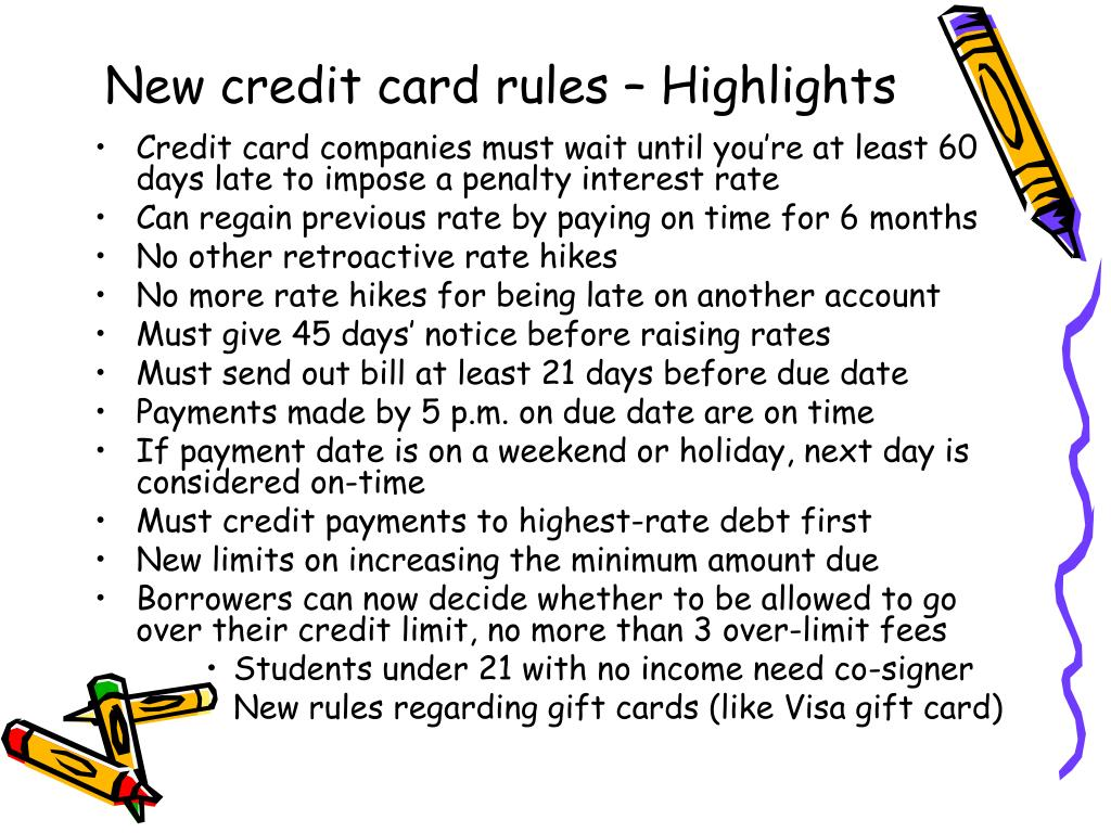 New credit card rules – Highlights