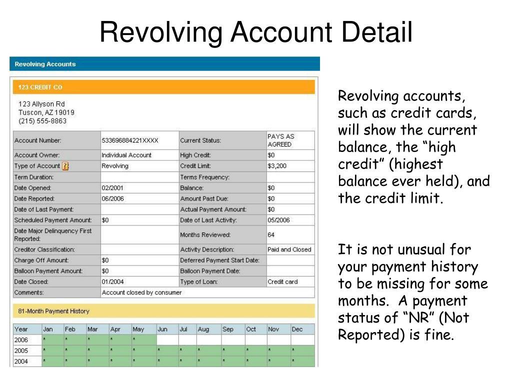 Revolving Account Detail