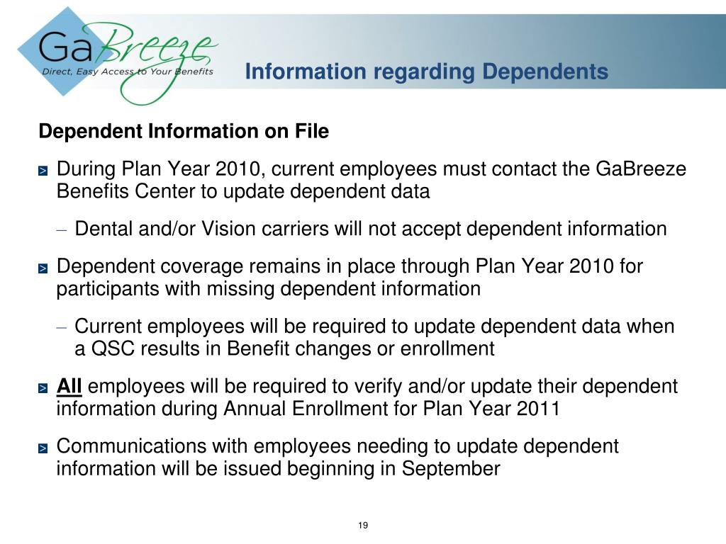 Information regarding Dependents