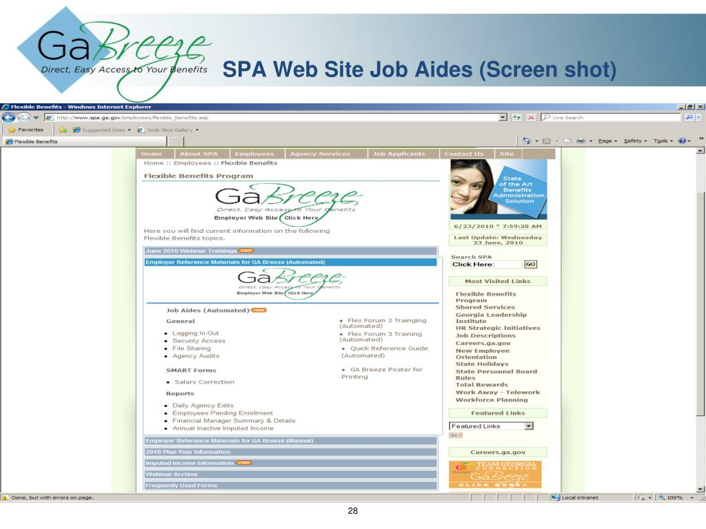 SPA Web Site Job Aides (Screen shot)