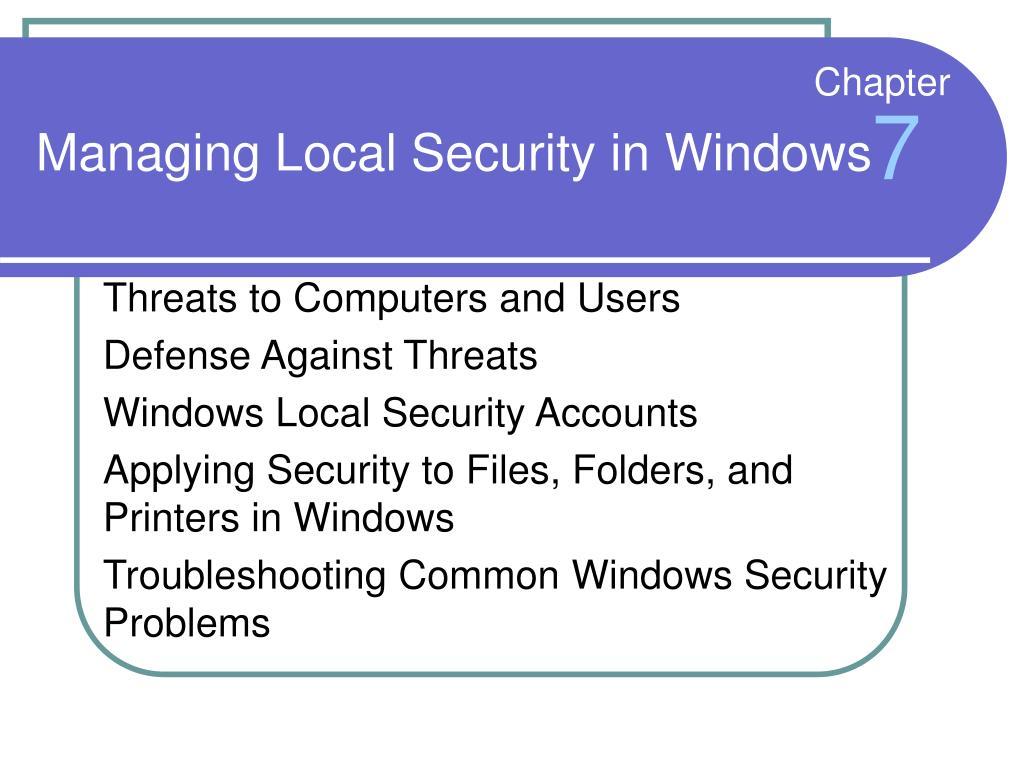 Managing Local Security in Windows