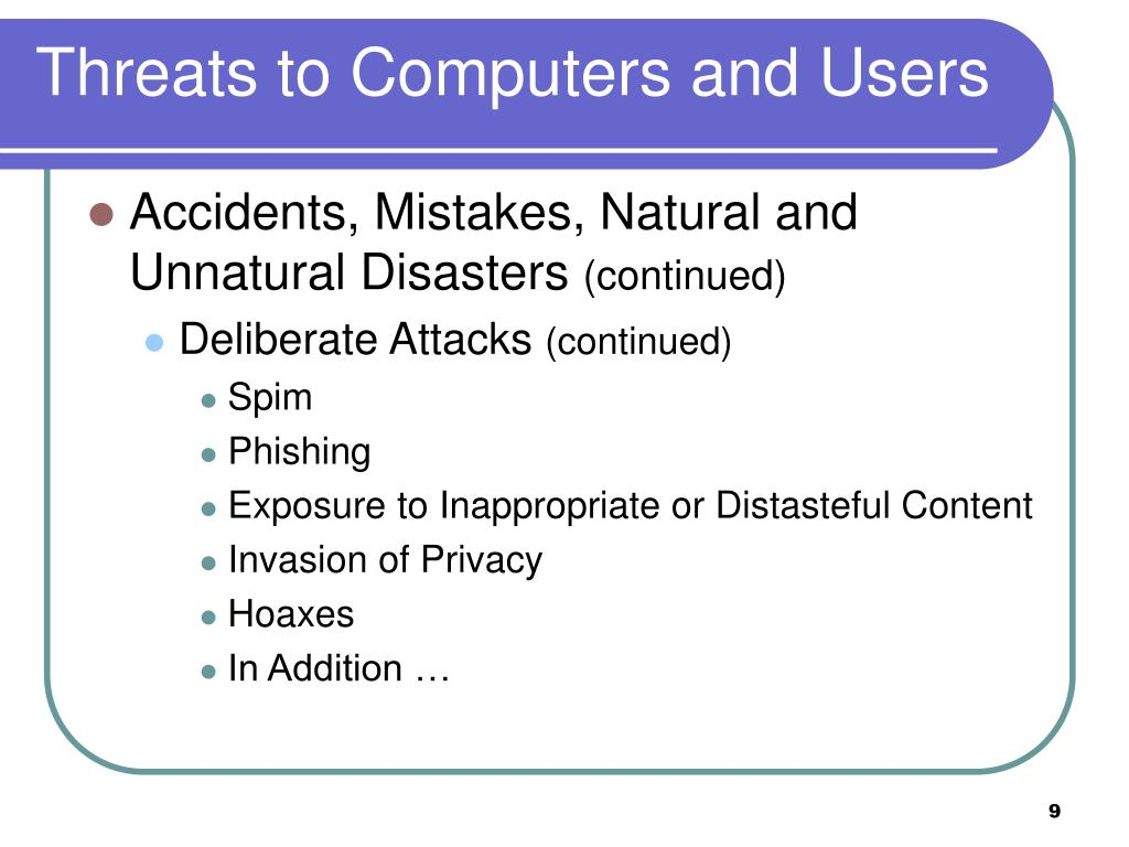 Threats to Computers and Users