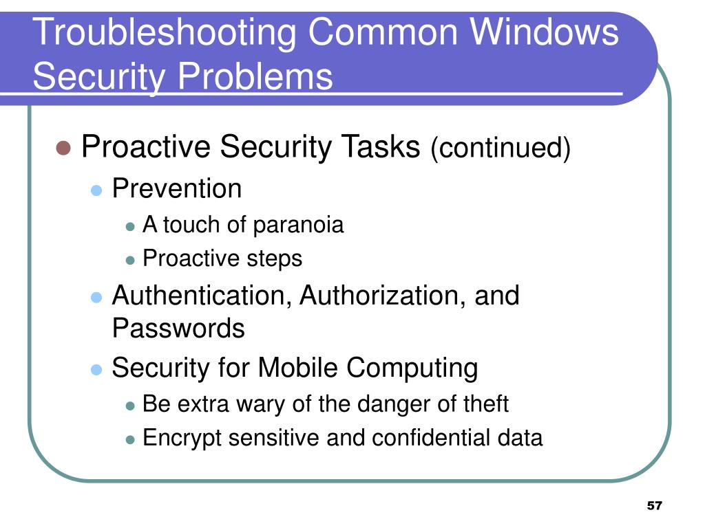 Troubleshooting Common Windows Security Problems