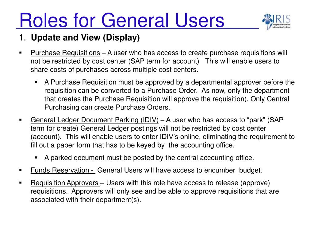 Roles for General Users