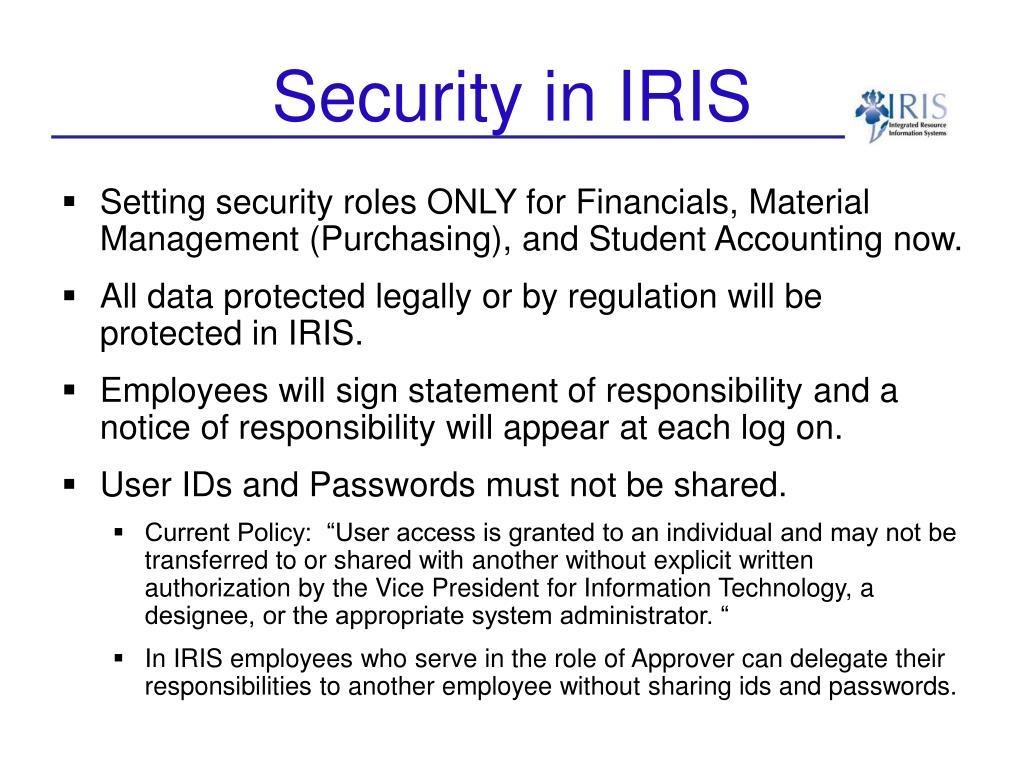 Security in IRIS