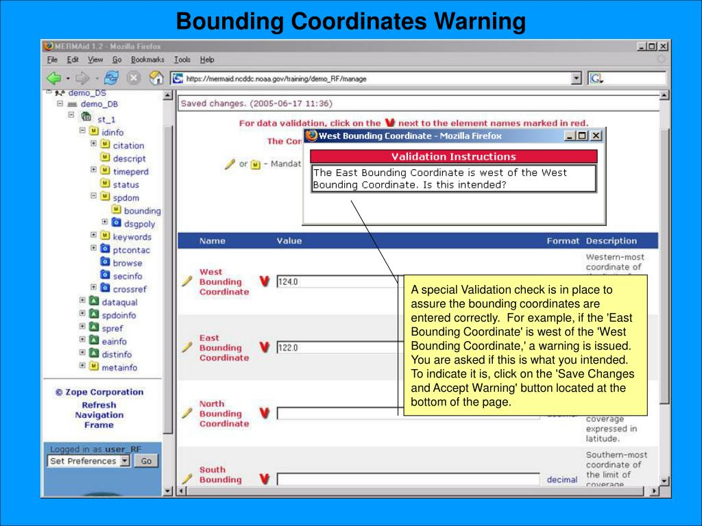 Bounding Coordinates Warning