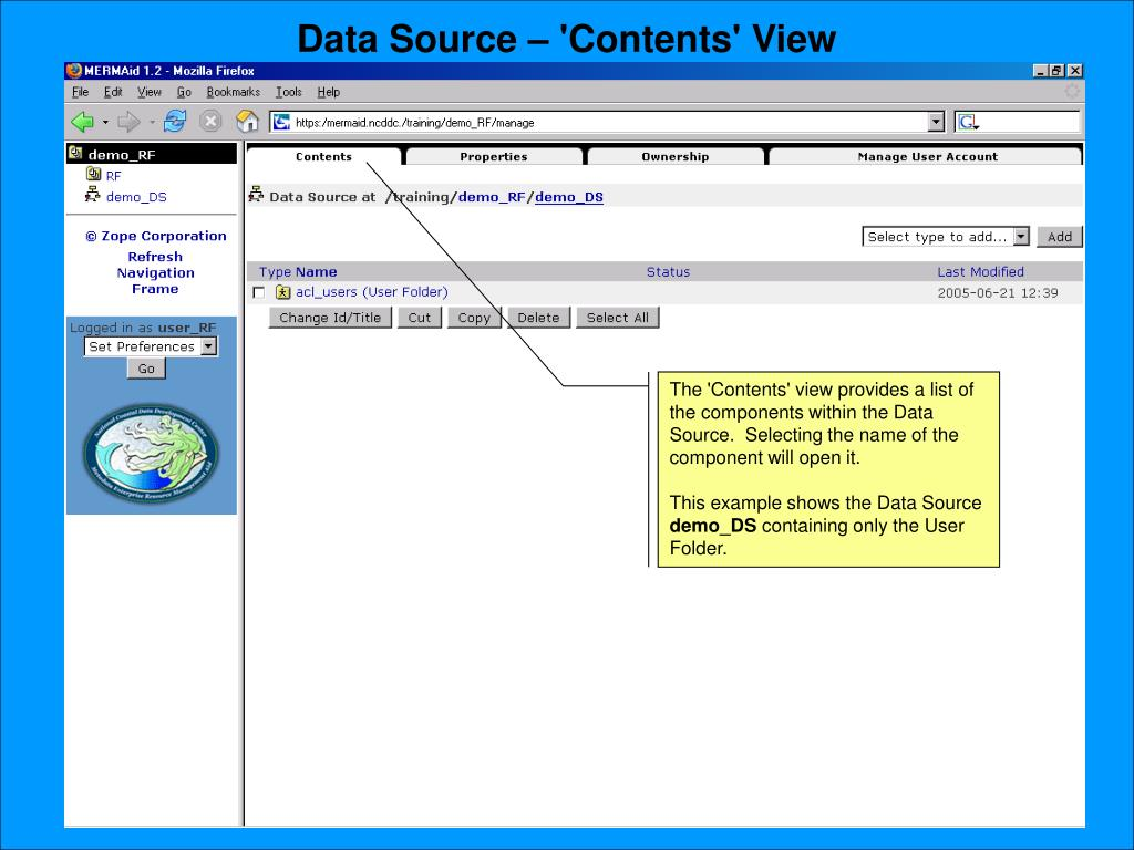 Data Source – 'Contents' View