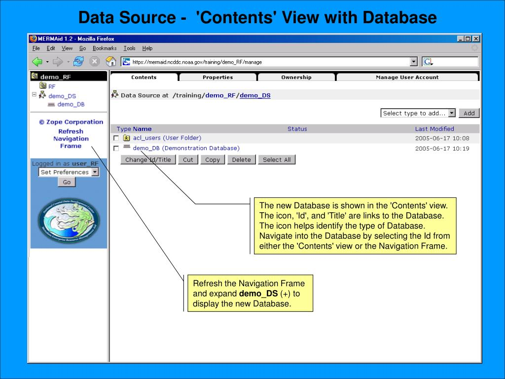 Data Source -  'Contents' View with Database