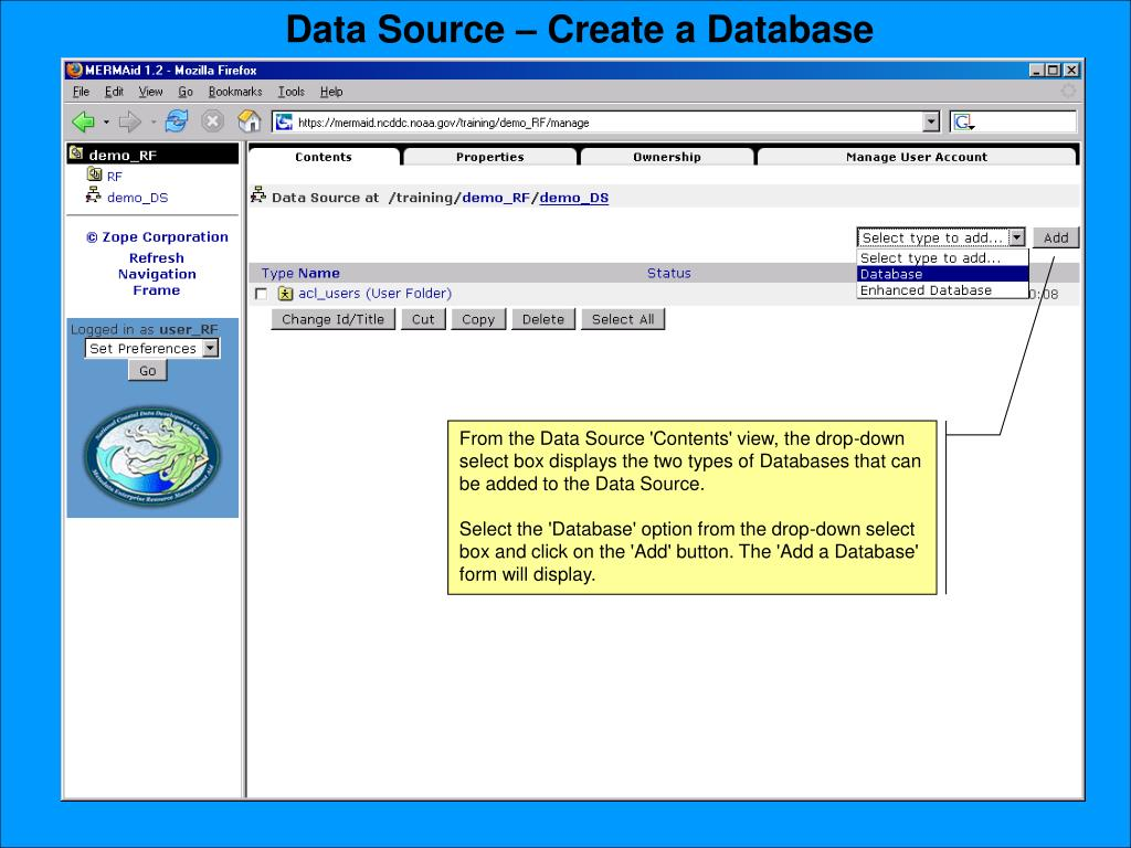 Data Source – Create a Database