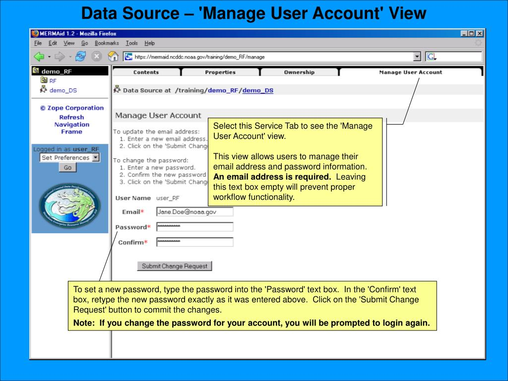 Data Source – 'Manage User Account' View