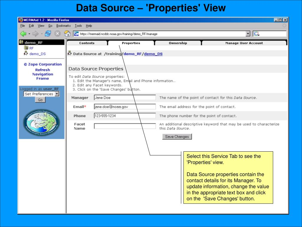 Data Source – 'Properties' View