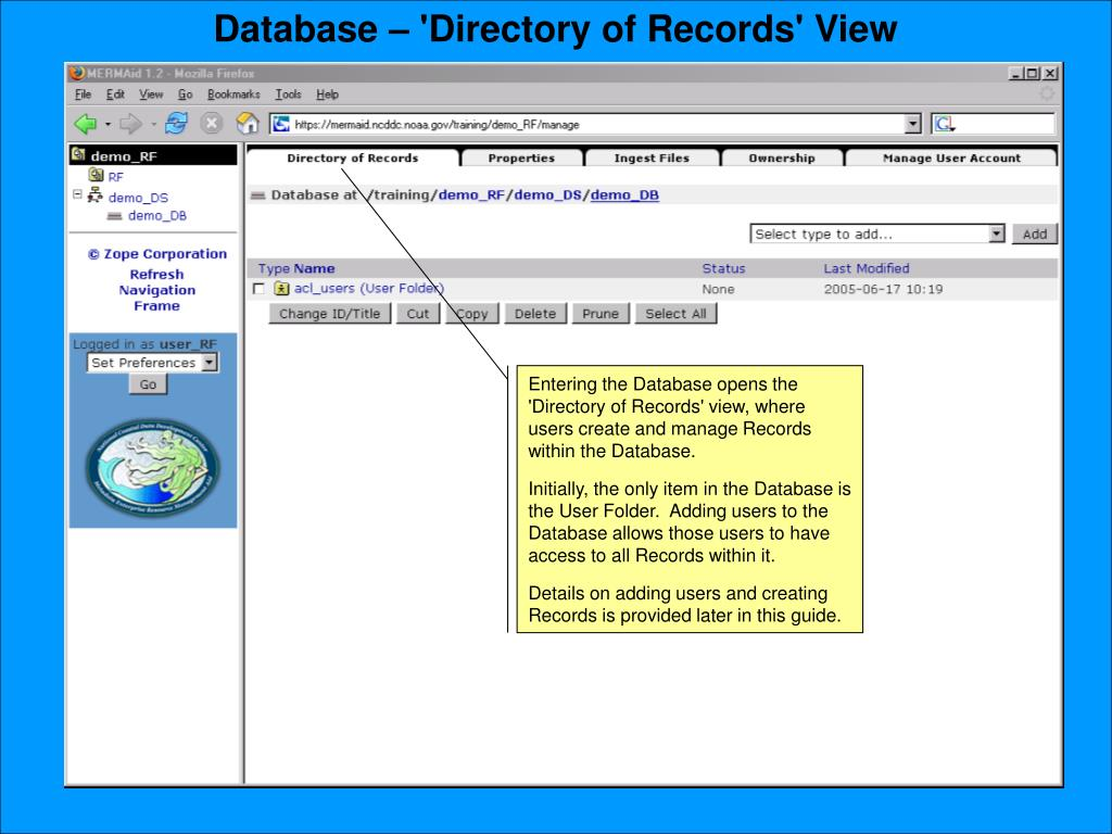 Database – 'Directory of Records' View