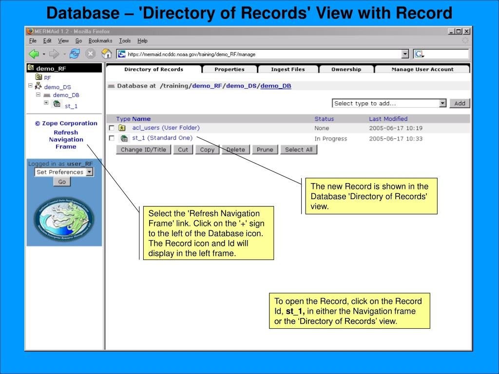 Database – 'Directory of Records' View with Record