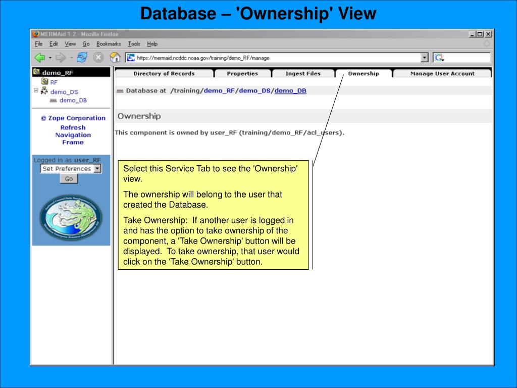 Database – 'Ownership' View