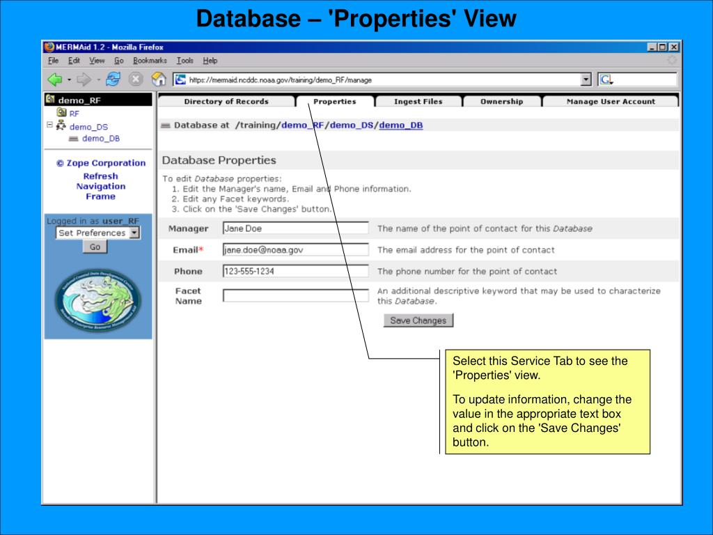 Database – 'Properties' View