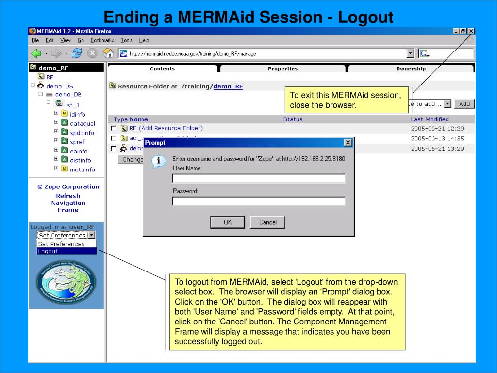 Ending a MERMAid Session - Logout