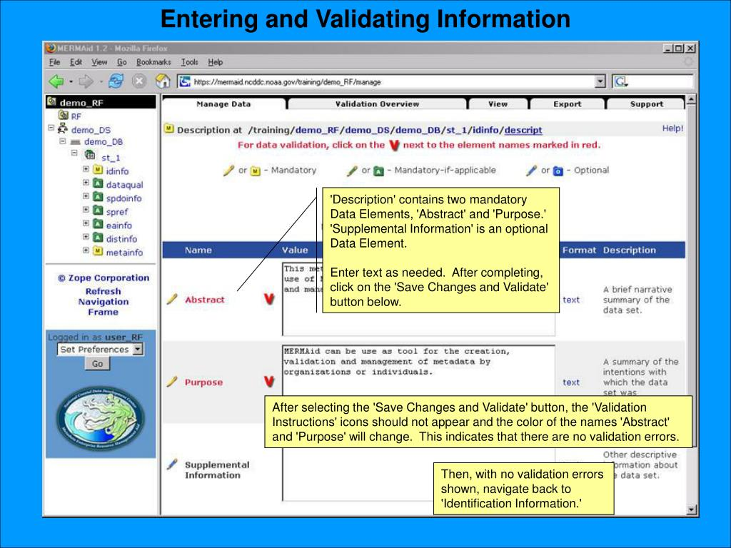 Entering and Validating Information