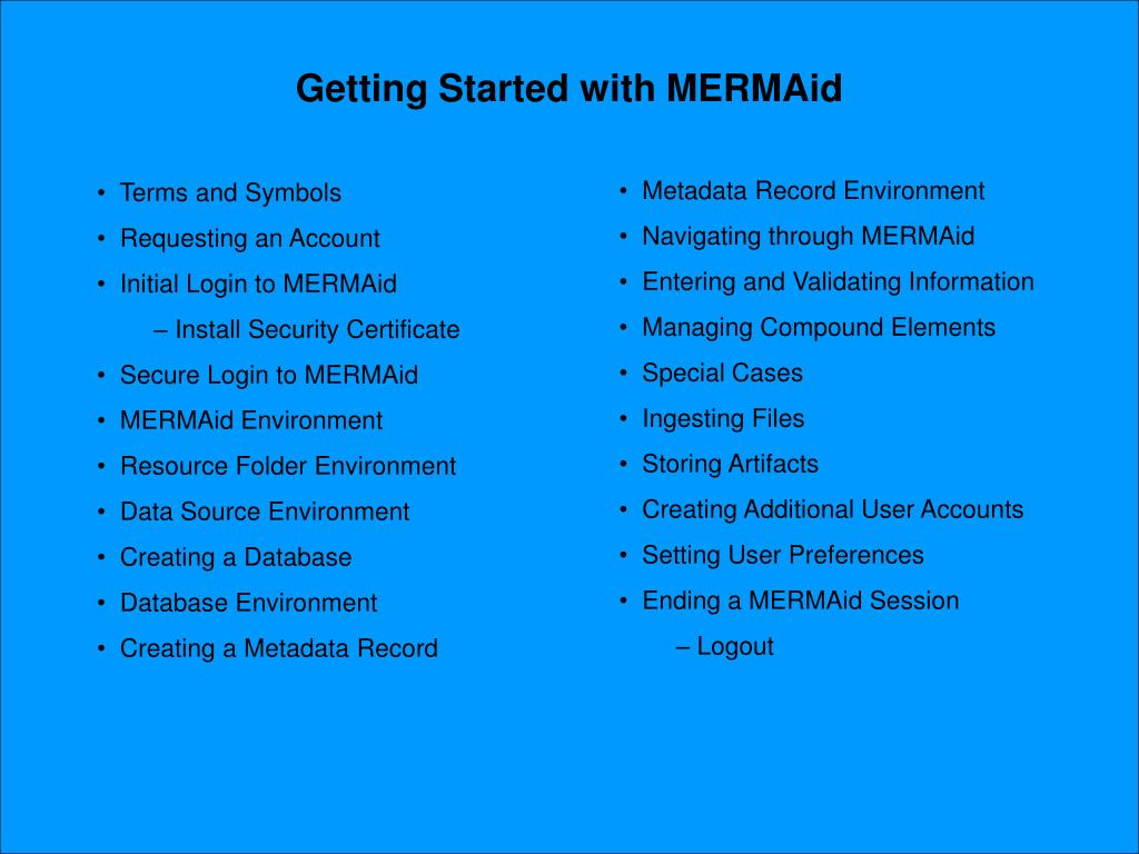Getting Started with MERMAid