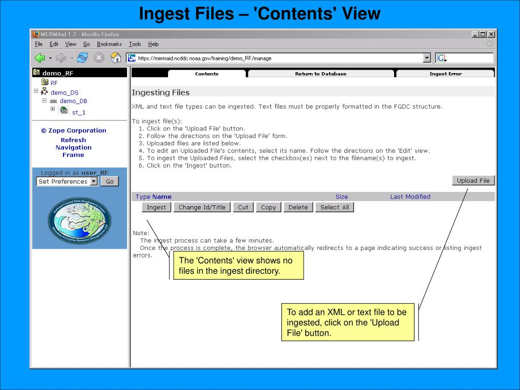 Ingest Files – 'Contents' View