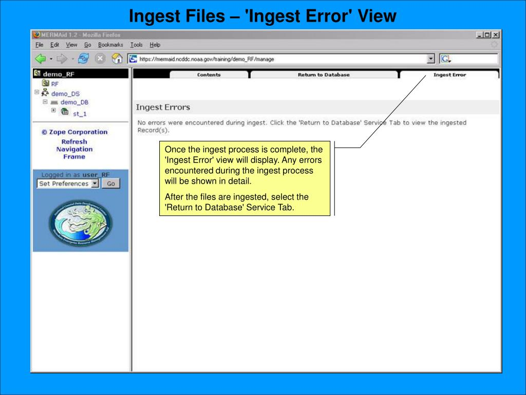 Ingest Files – 'Ingest Error' View