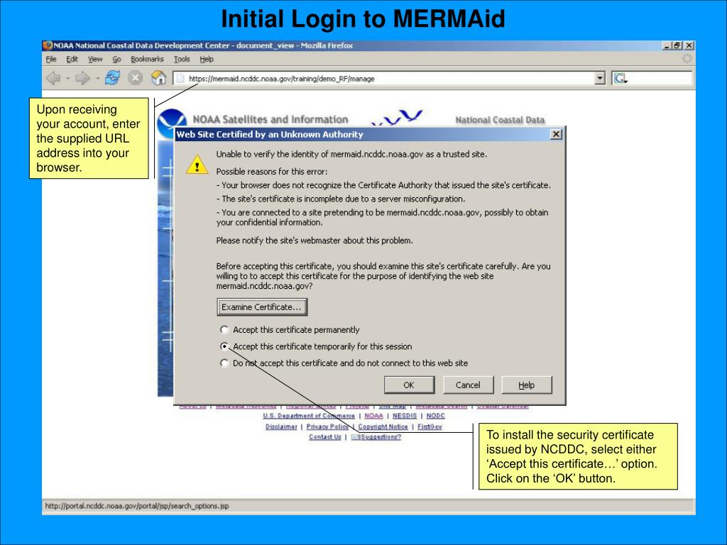 Initial Login to MERMAid