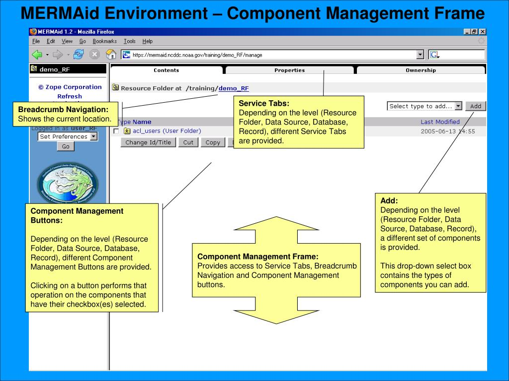 MERMAid Environment – Component Management Frame
