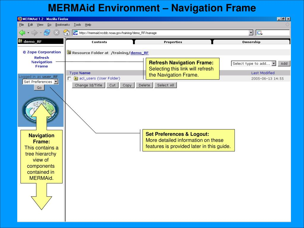 MERMAid Environment – Navigation Frame