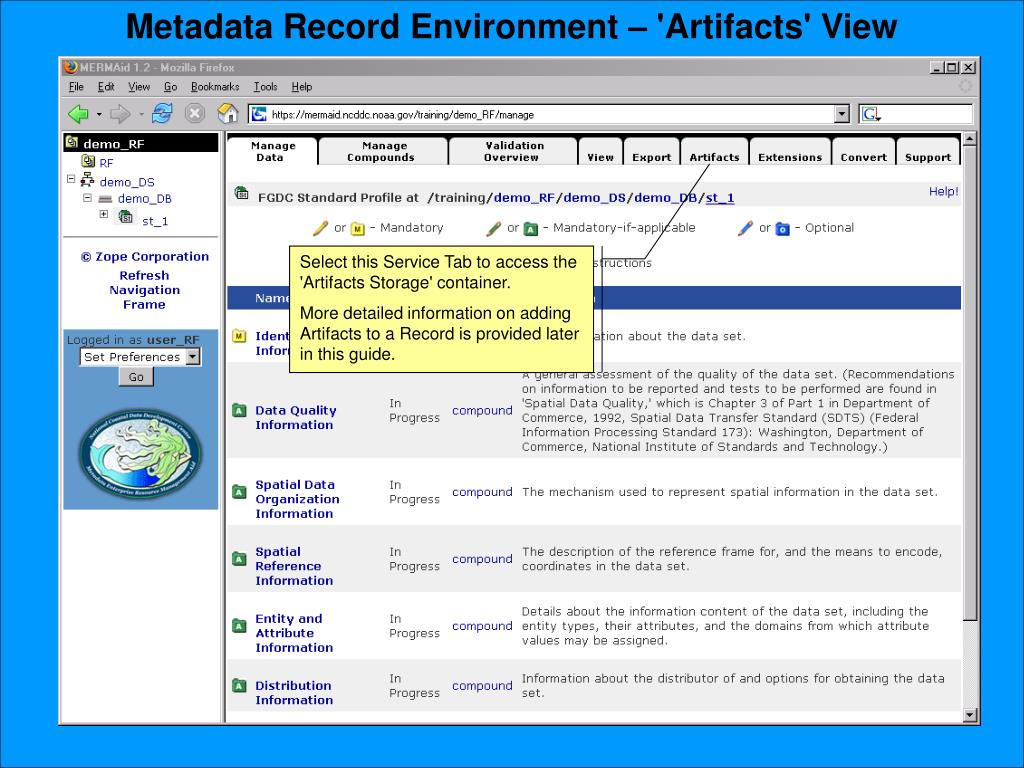 Metadata Record Environment – 'Artifacts' View