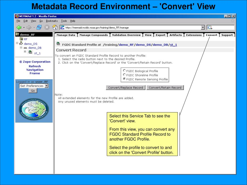 Metadata Record Environment – 'Convert' View