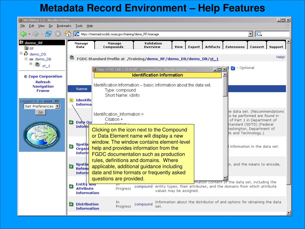 Metadata Record Environment – Help Features