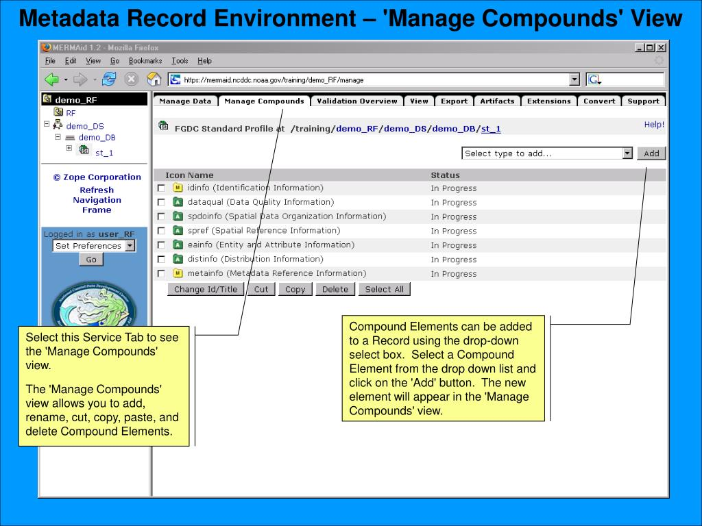 Metadata Record Environment – 'Manage Compounds' View