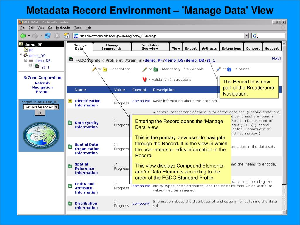 Metadata Record Environment – 'Manage Data' View