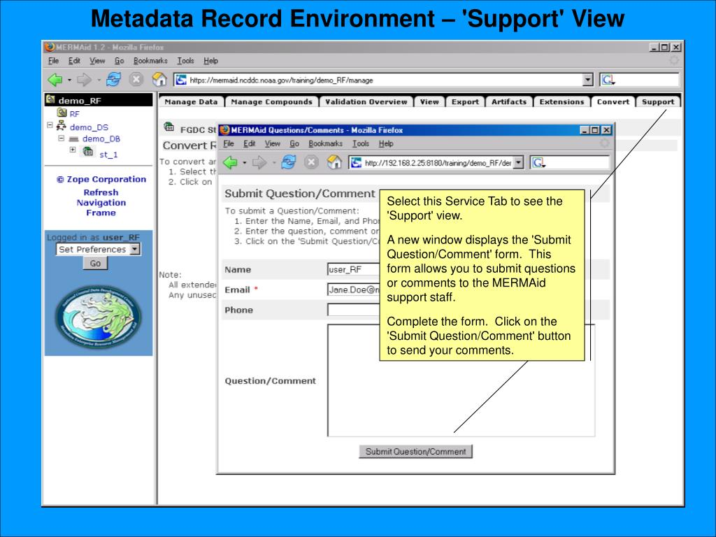 Metadata Record Environment – 'Support' View