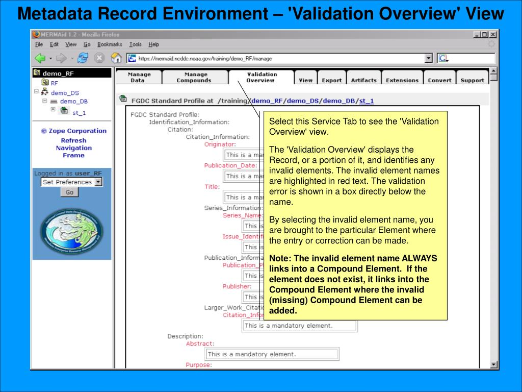 Metadata Record Environment – 'Validation Overview' View