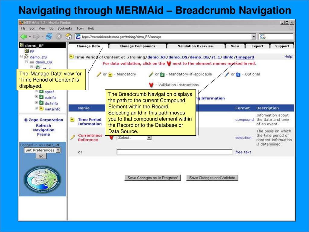Navigating through MERMAid – Breadcrumb Navigation