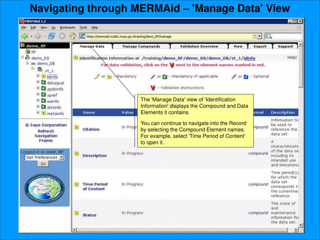 Navigating through MERMAid – 'Manage Data' View