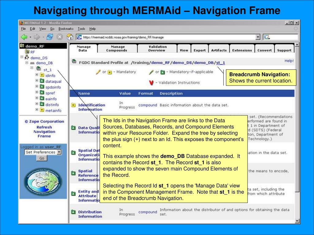 Navigating through MERMAid – Navigation Frame