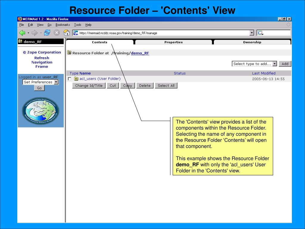 Resource Folder – 'Contents' View