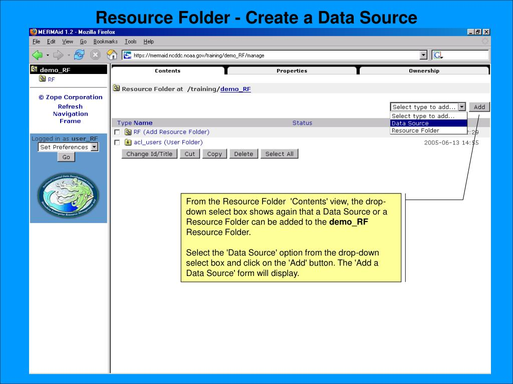 Resource Folder - Create a Data Source