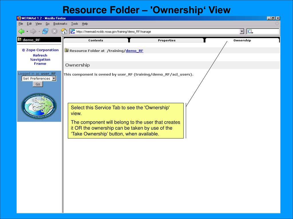 Resource Folder – 'Ownership' View