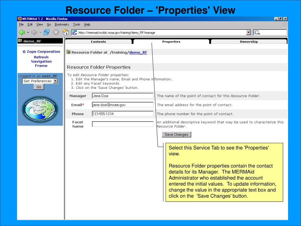 Resource Folder – 'Properties' View