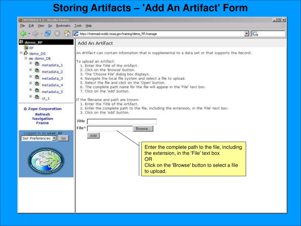 Storing Artifacts – 'Add An Artifact' Form