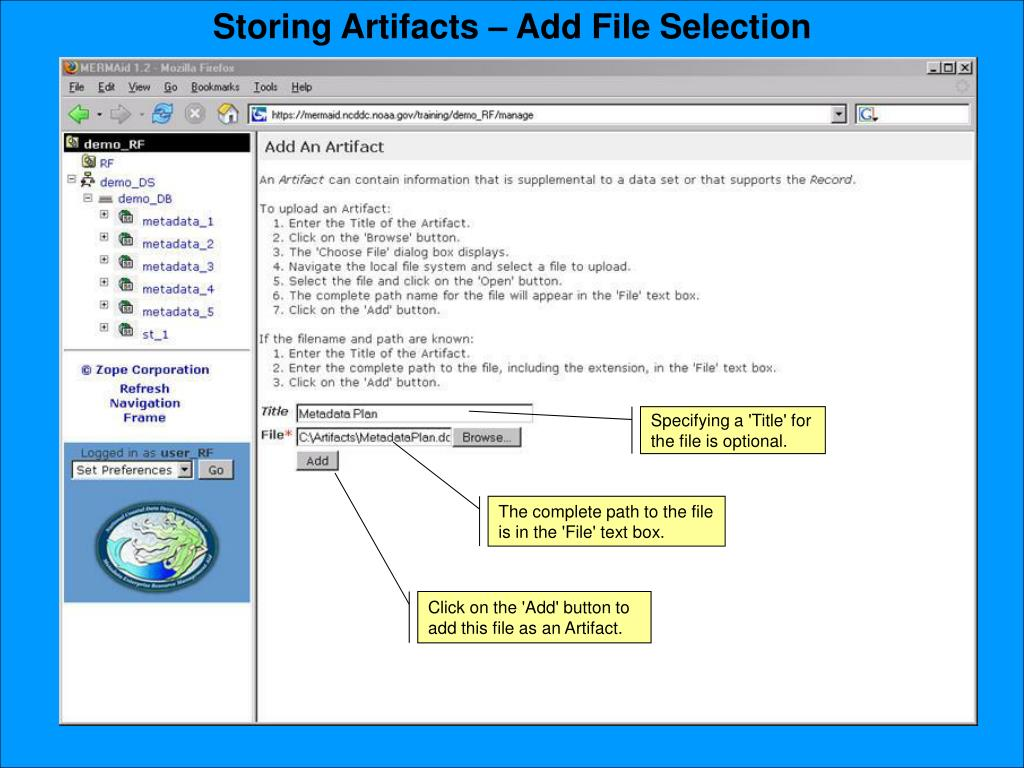 Storing Artifacts – Add File Selection