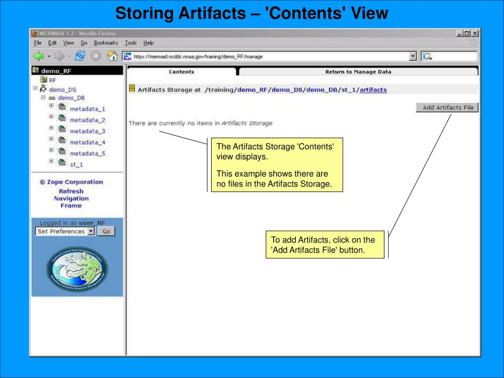 Storing Artifacts – 'Contents' View