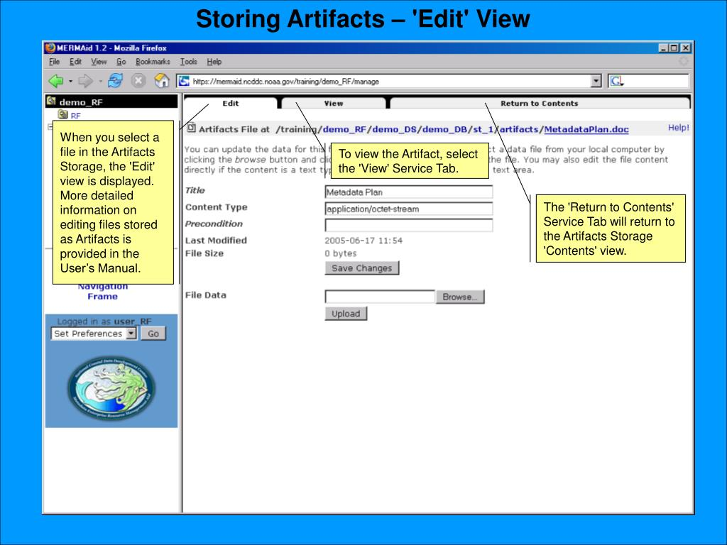 Storing Artifacts – 'Edit' View